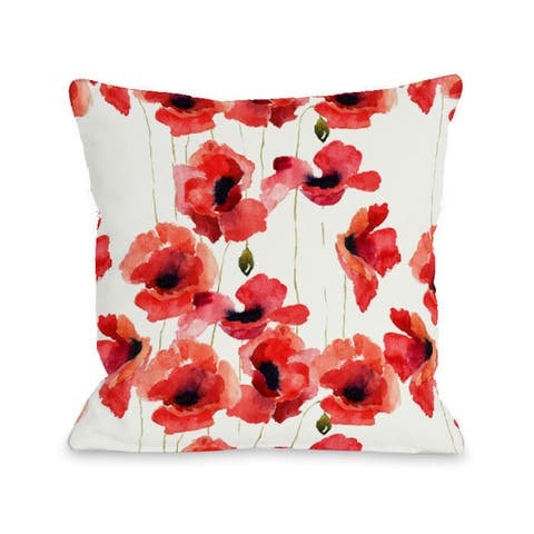 Poppy Field - Red 16 or 18 Inch Throw Pillow by OBC