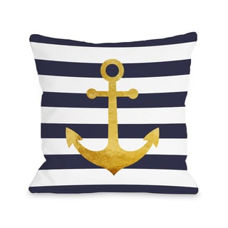 Nautical Stripes Anchor - Navy 16 or 18 Inch Throw Pillow by OBC