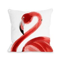 Oversized Flamingo - Pink 16 or 18 Inch Throw Pillow by OBC