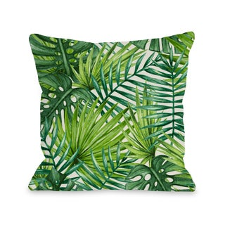 Palm Leaves - Green 16 or 18 Inch Throw Pillow by OBC