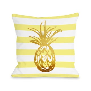 Tropical Stripes Pineapple - Yellow 16 or 18 Inch Throw Pillow by OBC
