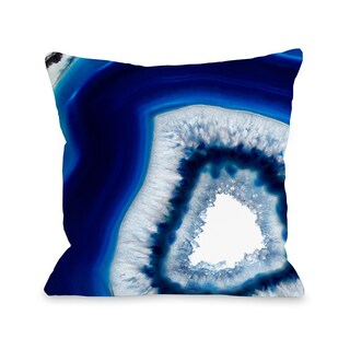 Geode Abyss Silver - Navy 16 or 18 Inch Throw Pillow by OBC