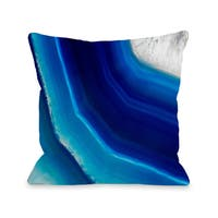 Geode Blue - Navy 16 or 18 Inch Throw Pillow by OBC