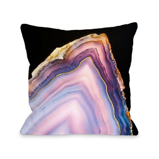 Geode Rainbow Gold - Purple 16 or 18 Inch Throw Pillow by OBC
