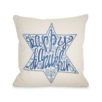 Happy Hanukkah - Blue 16 or 18 Inch Throw Pillow by OBC