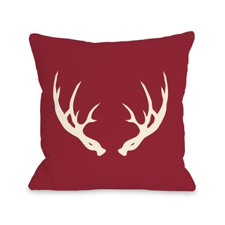 Huntsman Antlers - Red 16 or 18 Inch Throw Pillow by OBC