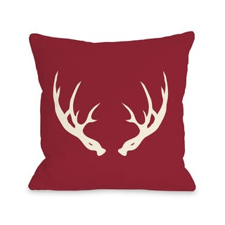 Huntsman Antlers Red 16 Or 18 Inch Throw Pillow By Obc