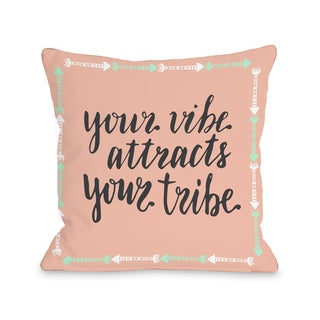 Vibe Tribe - Coral 16 or 18 Inch Throw Pillow by OBC