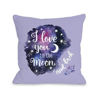 Love You To The Moon Rocket - Purple 16 or 18 Inch Throw Pillow by OBC