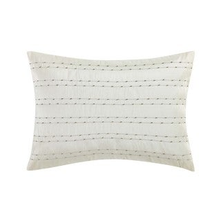 Charisma Bellissimo Bugle Beaded Gold/Off-white Down and Feather Filled 14 x 20 Decorative Throw Pillow