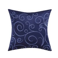 Charisma Alfresco 18-inch Square Tonal Embroidered Down and Feather Filled Decorative Throw Pillow