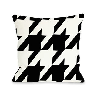 Molly Oversized Houndstooth - Black White 16 or 18 Inch Throw Pillow by OBC