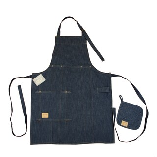 Denim Bib Apron and Pot Holder Set