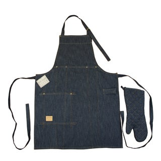 Denim Bib Apron and Oven Mitt Set
