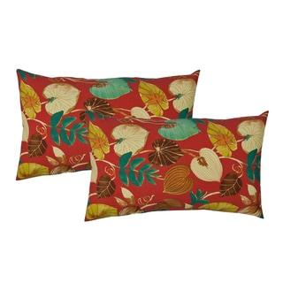 Sherry Kline Tropics Red Indoor/Outdoor Boudoir Pillow (Set of 2)