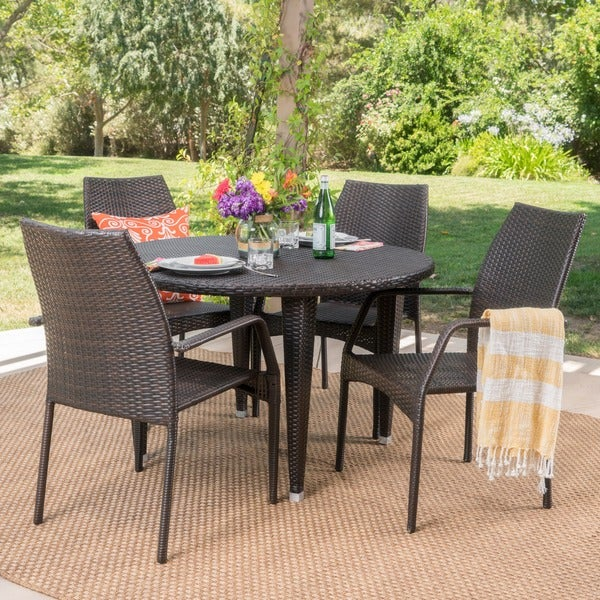 Shop bair outdoor 5 piece round dining set by christopher knight home free shipping today for Bairs lawn and garden