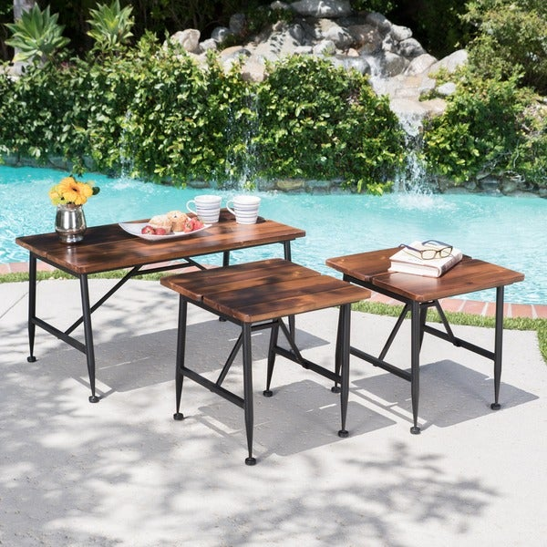 Ocala Outdoor Industrial Acacia Wood 3-piece Table Set by Christopher Knight Home. Opens flyout.