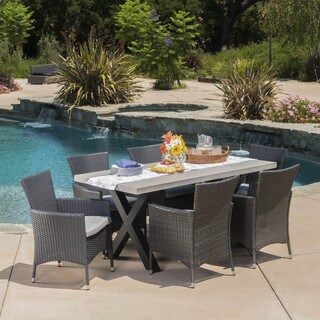 Sanibel Outdoor Light-weight concrete 7-piece Rectangle Dining Set with Cushions by Christopher Knight Home