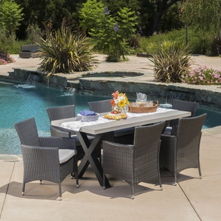 Sanibel Outdoor Light Weight Concrete 7 Piece Rectangle Dining Set With  Cushions By Christopher
