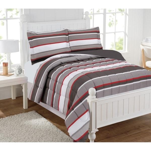 Brett Stripe Gray/Red Mini Comforter Set