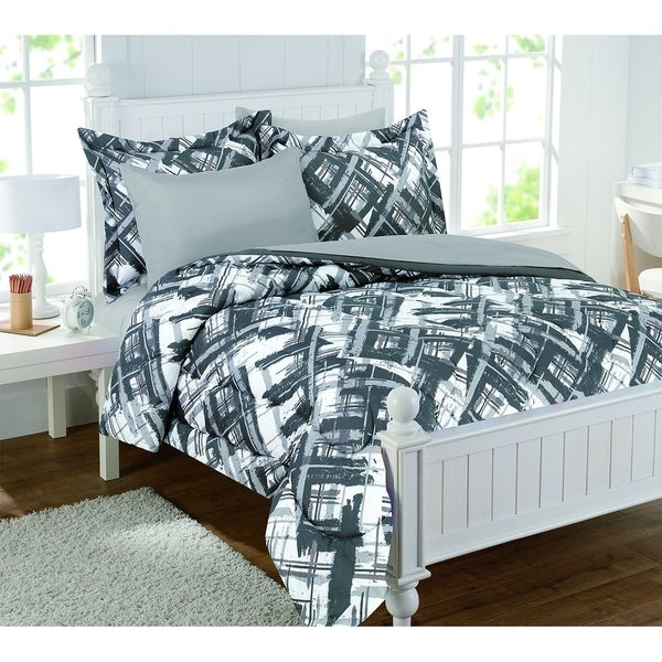 Alex Plaid Gray 7pc Bed in a bag with extra sheet set