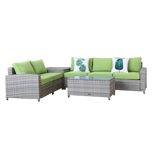Broyerk 7 Piece Grey Outdoor Rattan Patio Furniture Set Storage Box