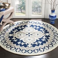 Safavieh Bellagio Contemporary Hand-Tufted Wool Grey/ Blue Area Rug - 5' Round