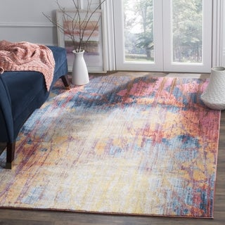 Safavieh Bristol Bohemian Abstract Blue/ Red Area Rug (7' Square)