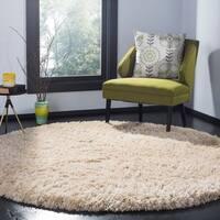Safavieh Polar Shag Contemporary Solid Wool Grey/ Blue Area Rug - 5' Round