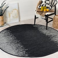 Safavieh Vintage Leather Modern Hand-Woven Grey/ Black Area Rug - 4' Round