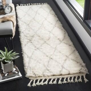 Safavieh Casablanca Contemporary Hand-Knotted Wool Ivory/ Grey Runner Rug (2'3 x 8')
