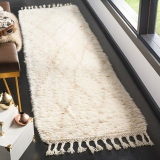 Safavieh Casablanca Contemporary Hand-Knotted Wool Ivory/ Beige Runner Rug (2'3 x 8')