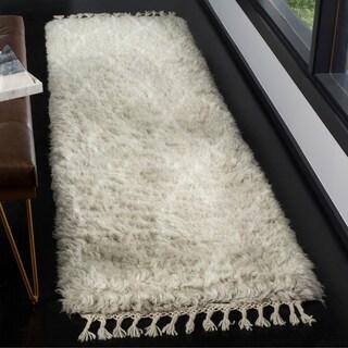Safavieh Casablanca Contemporary Hand-Knotted Wool Grey/ Ivory Runner Rug (2'3 x 8')