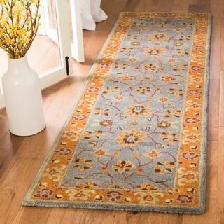 Safavieh Heritage Traditional Asian Inspired Oriental Hand-Tufted Wool Blue/ Orange Runner Rug (2'3 x 12')