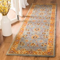 Safavieh Heritage Traditional Asian Inspired Hand-Tufted Wool Blue/Orange Runner Rug - 2'3 x 6'