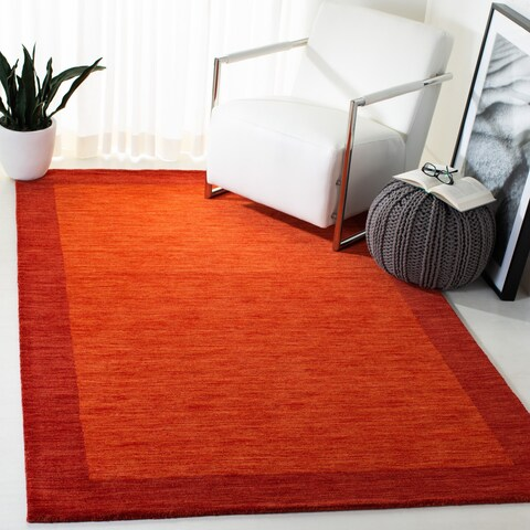 Safavieh Himalaya Contemporary Border Hand-Spun Wool Red Runner Rug - 2'3 x 8'