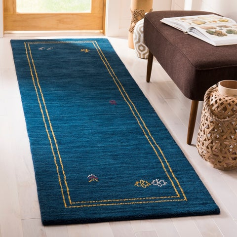 Safavieh Himalaya Contemporary Border Hand-Spun Wool Blue/ Multi Runner Rug - 2'3 x 8'