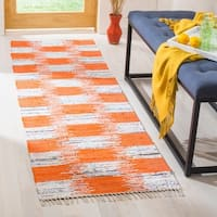 "Safavieh Montauk Contemporary Hand-Woven Cotton Orange/ Multi Runner Rug - 2'3"" x 7'"