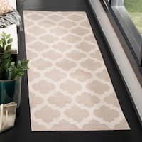 Safavieh Montauk Contemporary Hand-Woven Cotton Grey/ Ivory Runner Rug - 2'3 x 7'
