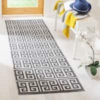Safavieh Montauk Contemporary Hand-Woven Cotton Grey/ Ivory Runner Rug - 2'3 x 7'