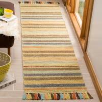 Safavieh Montauk Contemporary Hand-Woven Cotton Green/ Multi Runner Rug - 2'3 x 8'