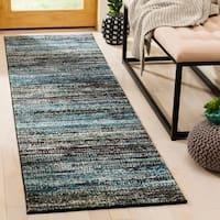 "Safavieh Porcello Modern Stripe Charcoal/ Blue Runner Rug - 2'3"" x 8'"
