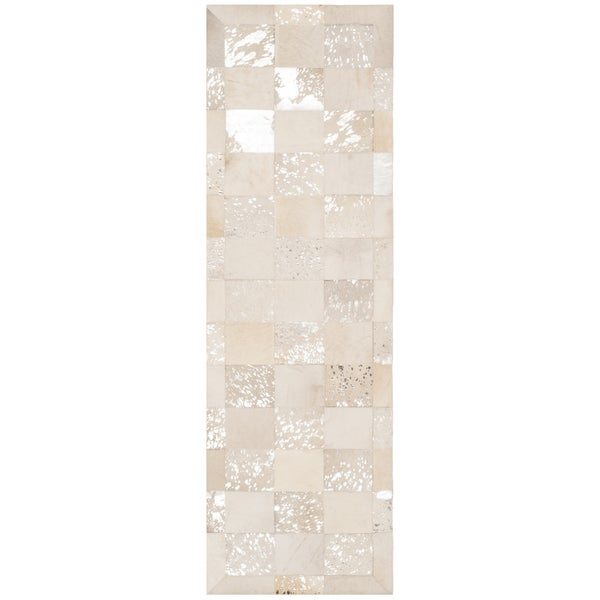 Safavieh Studio Leather Modern Hand-Woven Leather Ivory/ Silver Runner Rug (2'3 x 7')