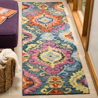 "Safavieh Suzani Hand-Woven Wool Blue/ Multi Runner Rug - 2'3"" x 8'"