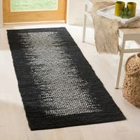 "Safavieh Vintage Leather Modern Hand-Woven Grey/ Black Runner Rug - 2'3"" x 6'"