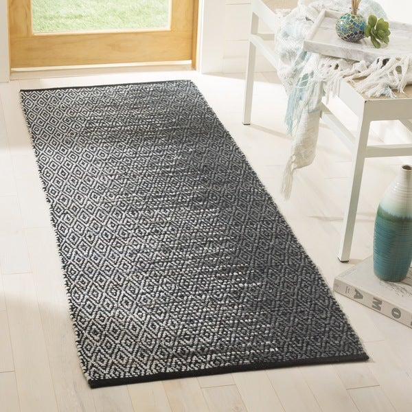 Safavieh Vintage Leather Modern Hand-Woven Grey/ Black Runner Rug (2'3 x 9')