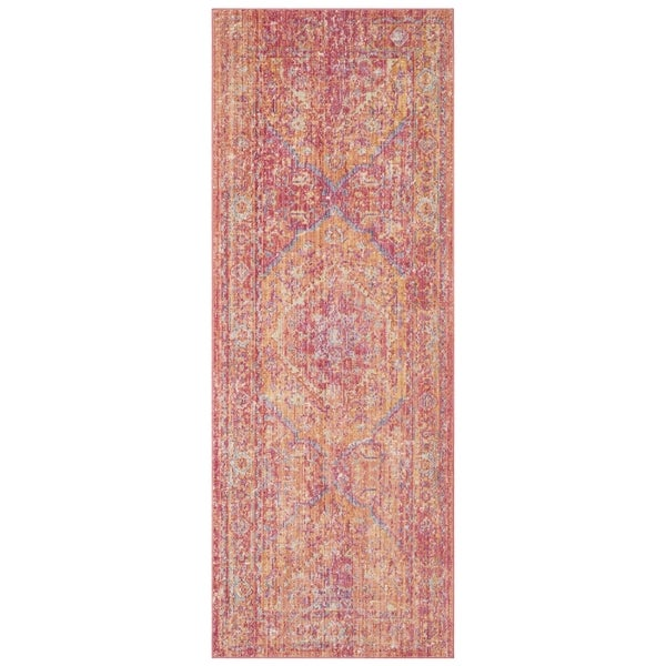 Shop Safavieh Windsor Oriental Cotton Gold/ Pink Runner