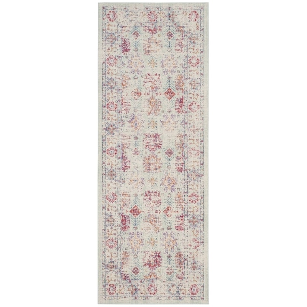 Safavieh Windsor Cotton Ivory/ Purple Runner Rug (3'x 12')