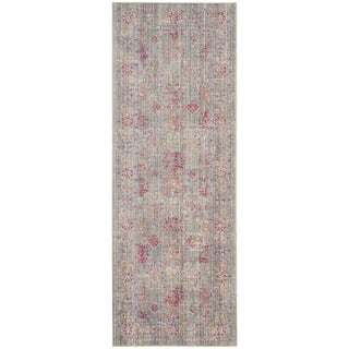 Safavieh Windsor Cotton Grey/ Purple Runner Rug (3'x 12')