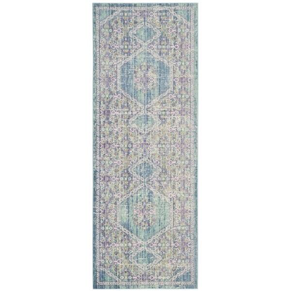 Shop Safavieh Windsor Oriental Cotton Blue/ Pink Runner